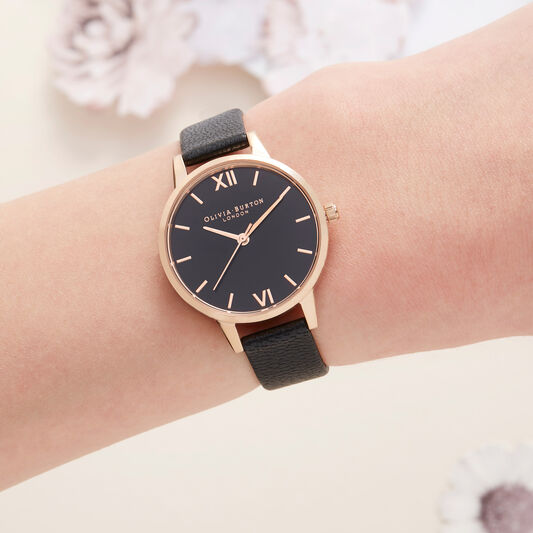 Midi Dial Black And Rose Gold Watch