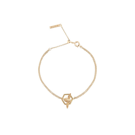 Honeycomb Bee Chain Bracelet Gold