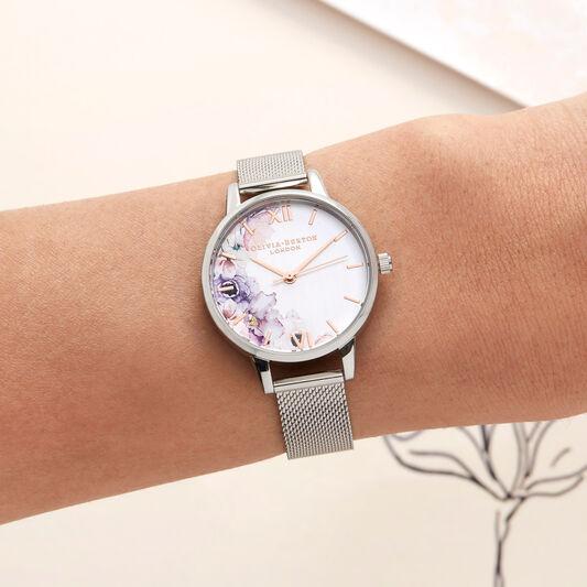Watercolour Florals Silver Mesh Watch
