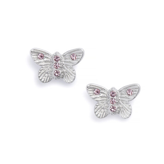 Bejewelled Butterfly Earrings Silver & Pink Stone