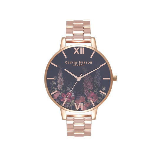Olivia Burton Dark Bouquet Rose Gold Bracelet Watch