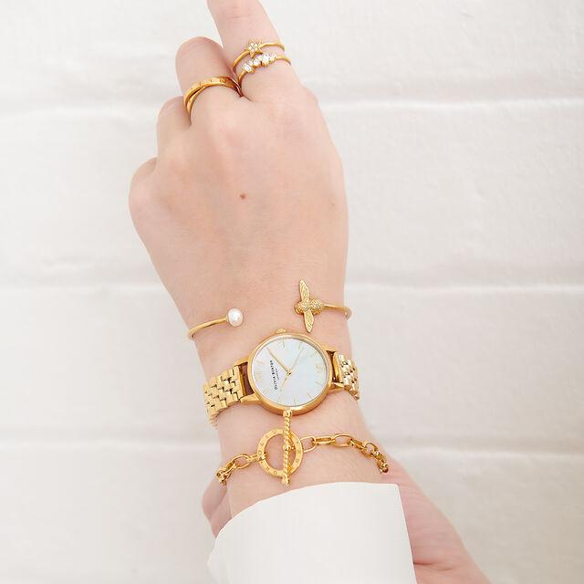 Mother of Pearl White Bracelet, Gold