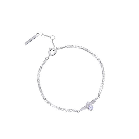 3D Bee Bejewelled Chain Bracelet Silver with Tanzanite Gemstone