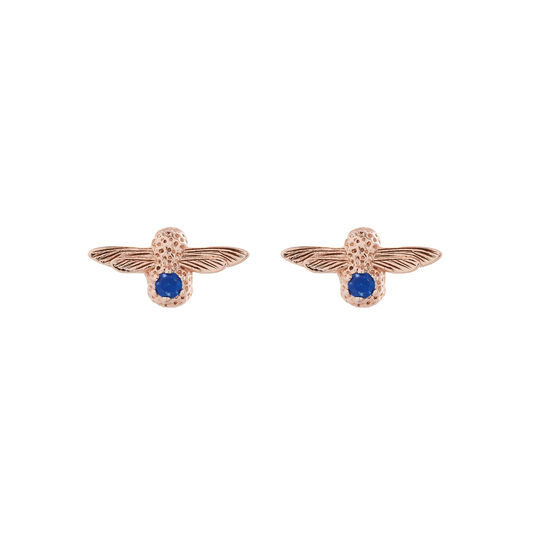 3D Bee Stud Earrings Rose Gold with Lapis Lazuli Gemstone