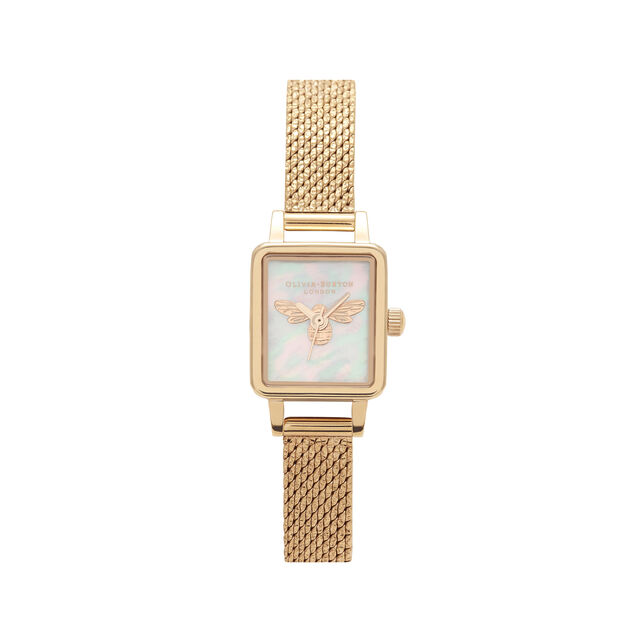 Lucky Bee Mini White Mother Of Pearl, Tank Dial & Gold Mesh Watch