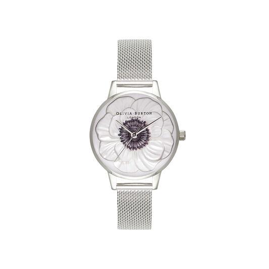 3D Anemone Silver Mesh Watch