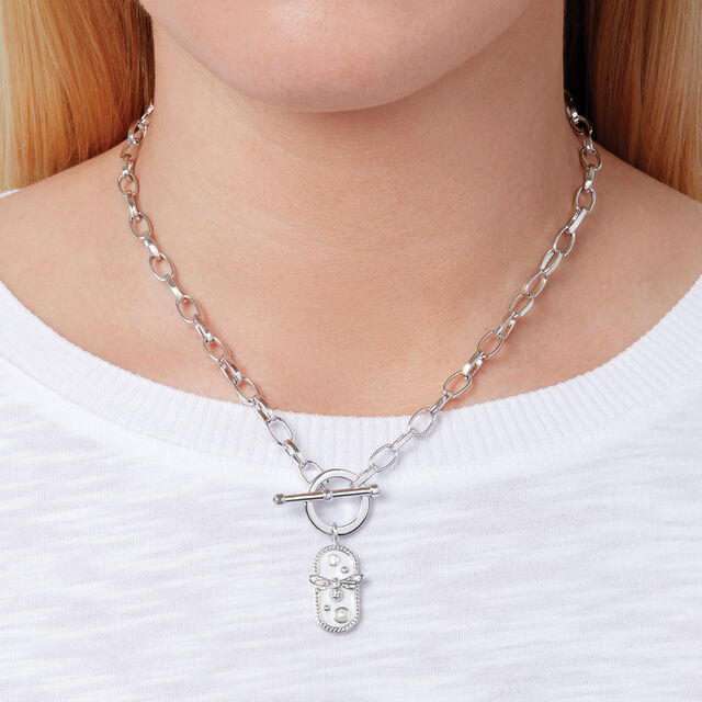 Lucky Bee White Enamel Bee Chain Necklace Silver