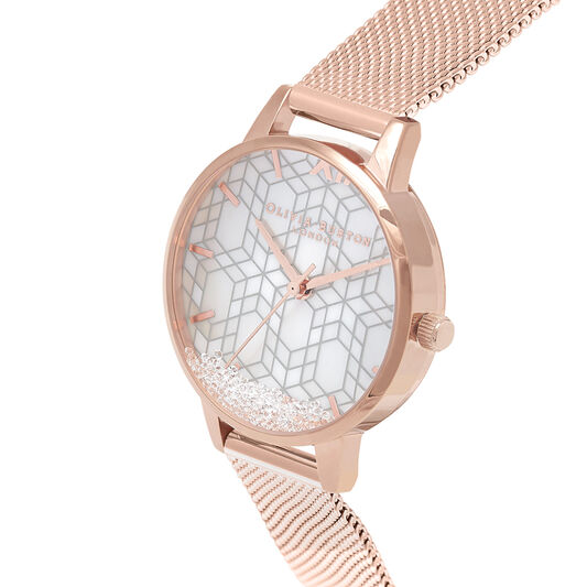 Snow Globe Dial & Rose Gold Mesh Watch