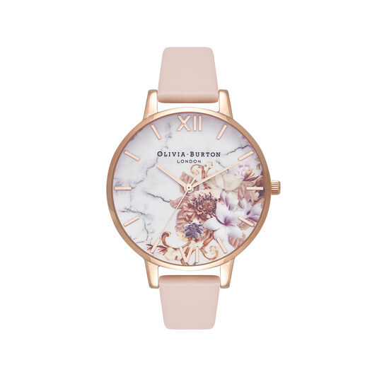 Marble Floral Nude Peach & Rose Gold Watch
