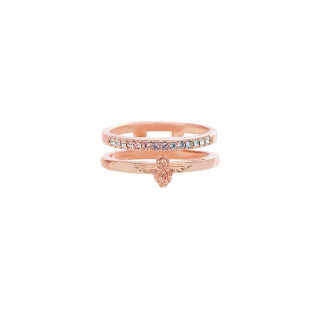 Rainbow Bee Ring Rose Gold