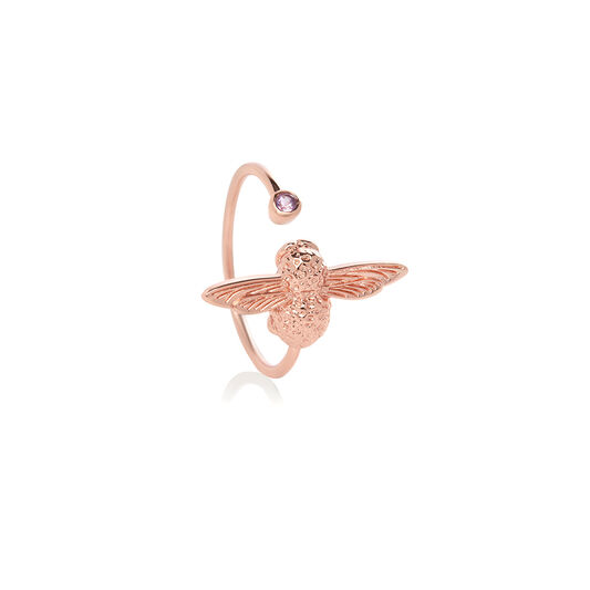 Bejewelled Bee Ring Rose Gold & Amethyst