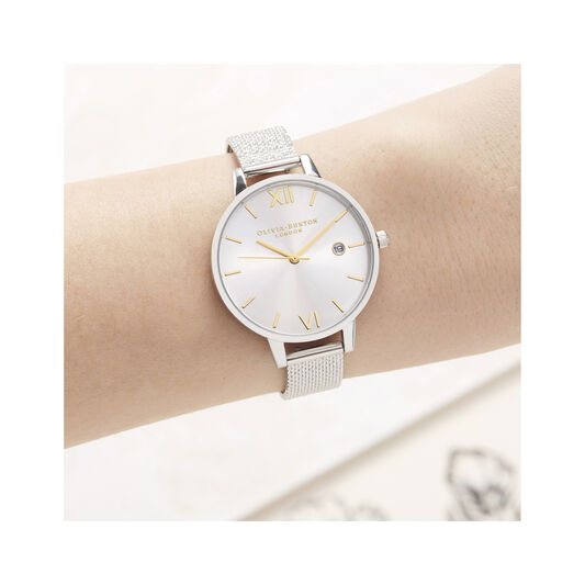 Sunray Demi Dial Watch with Boucle Mesh