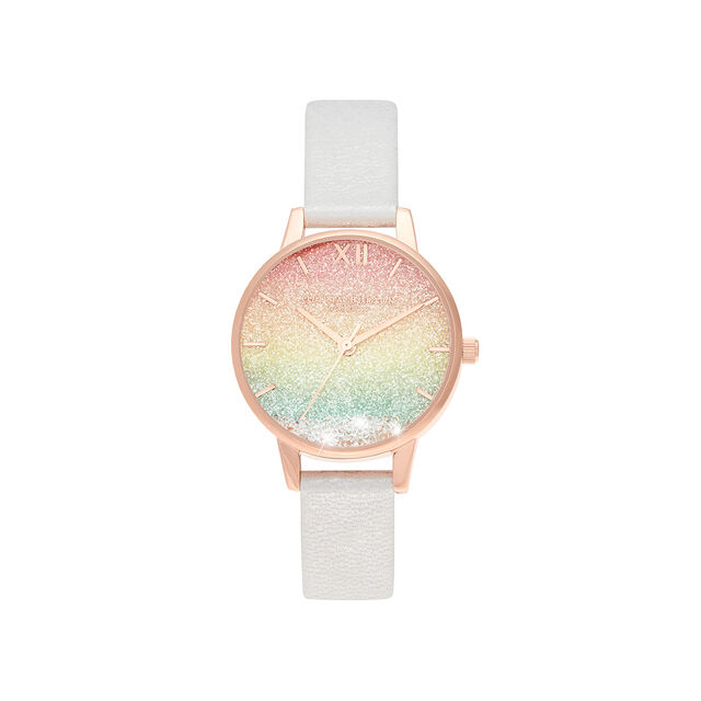 Rainbow Wishing Watch Midi Dial Pearl & Rose Gold Watch