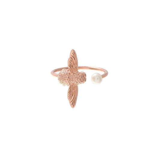 Pearl Bee Ring Rose Gold