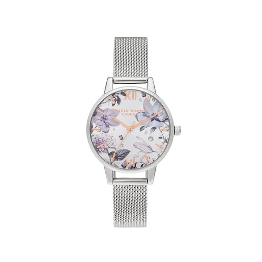 Bejewelled Florals Midi Silver Mesh & Rose Gold