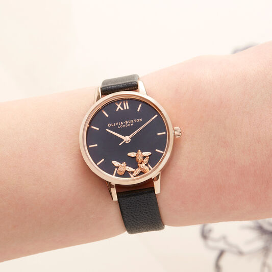 Olivia Burton Busy Bee Black & Rose Gold Watch