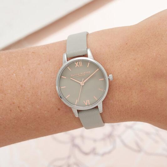 Midi Grey Dial Grey Watch, Rose Gold & Silver