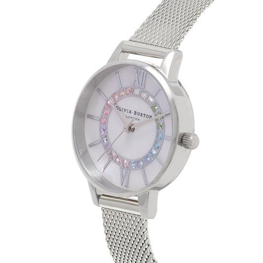 Rainbow Sparkle Wonderland Silver Mesh Watch
