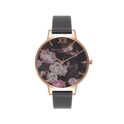 Signature Floral Black & Rose Gold Watch