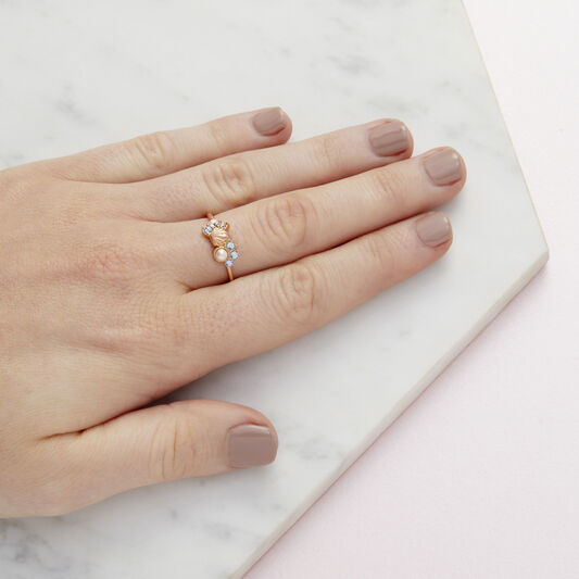 Sparkle Shell Rose Gold Ring (M)
