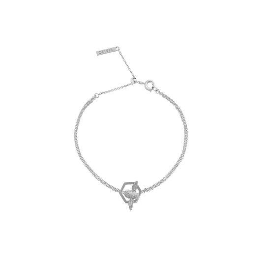 Honeycomb Bee Chain Bracelet Silver