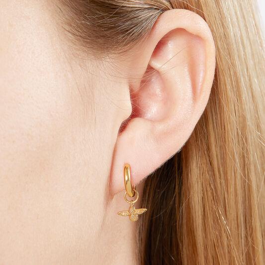 3D Bee Huggie Hoop Earrings Gold