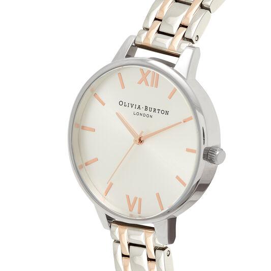 Big Dial Thin Case Silver & Pale Rose Gold Bracelet Watch