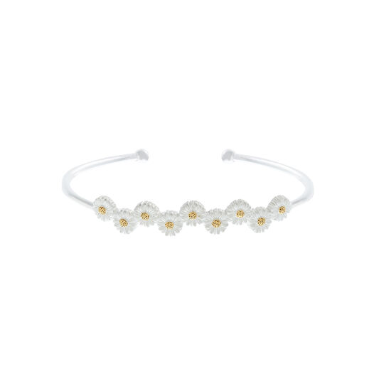 Daisy Open Ended Bangle Silver & Gold