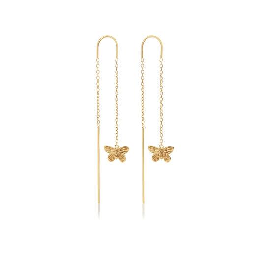 3D Butterfly Threader Earrings Gold