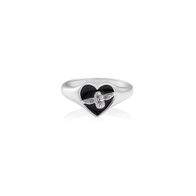 Love Bug Signet Ring Black & Silver L