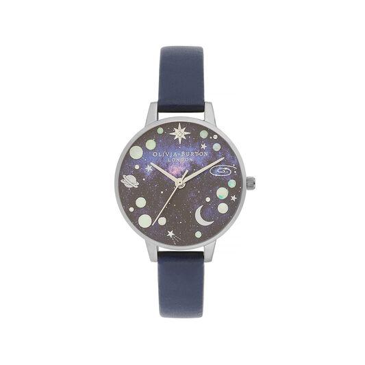 Celestial Midi Dial Opal Planet Navy & Silver Watch