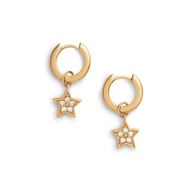 Celestial Star Charm Huggies Gold