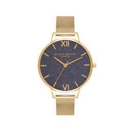 Navy Glitter Demi Dial & Gold Mesh Watch