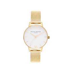 White Dial Gold Mesh Watch