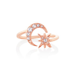 Moon & Star Rose Gold Adjustable Ring