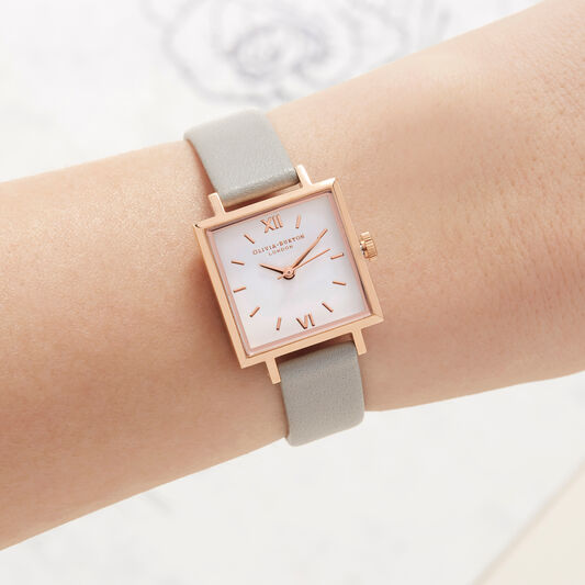 Olivia Burton Midi Dial Square Dial Grey & Rose Gold Watch