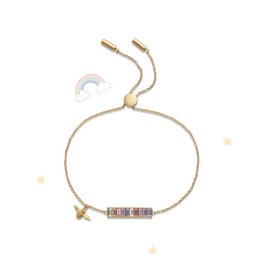 Rainbow Bee Baguette Bar Bracelet Gold