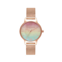 Midi Rainbow Pearl Dial Rose Gold Mesh Watch