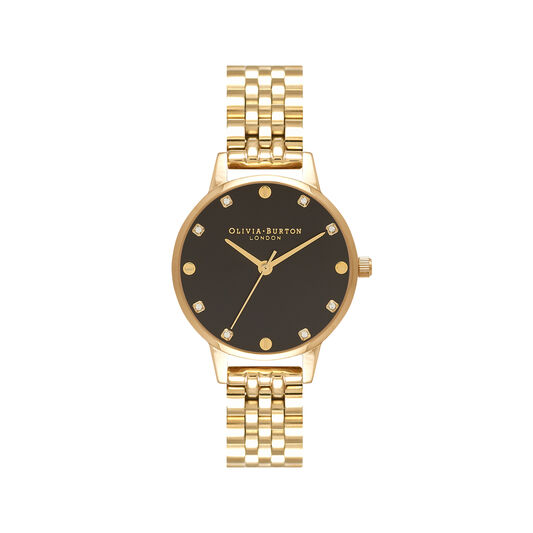 Midi Black Sunray Dial Gold Bracelet Watch