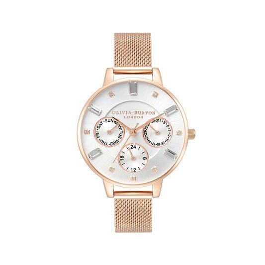 Multi Function Demi Dial Rose Gold Mesh Watch