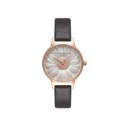 Flower Show 3D Daisy Black & Rose Gold Watch