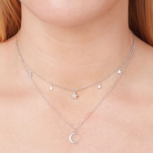 Celestial Double Crescent Moon and Star Necklace Silver