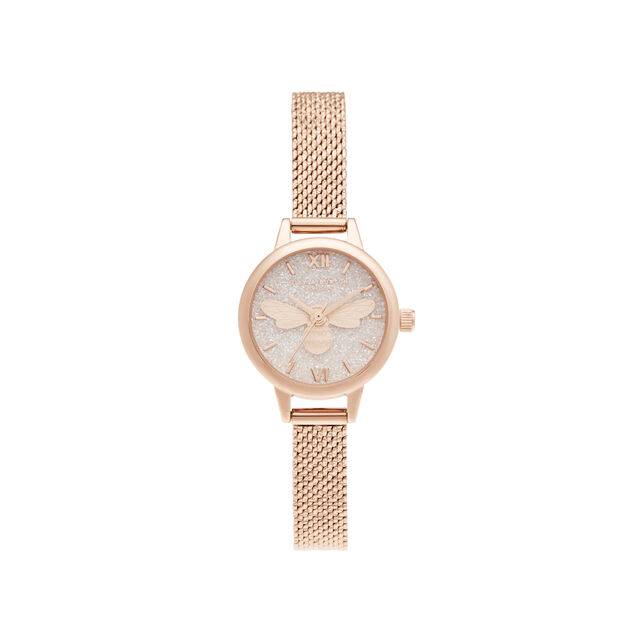 Lucky Bee Mini Dial Rose Gold Boucle Mesh Watch