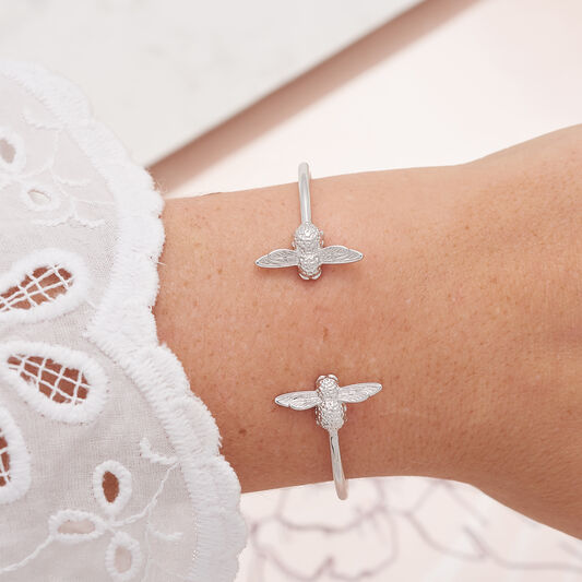 3D Bee Open End Bangle Silver