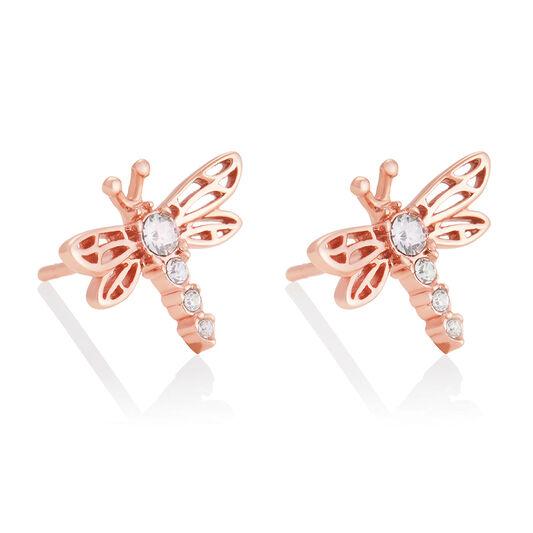 Dancing Dragonfly Stud Earrings Rose Gold