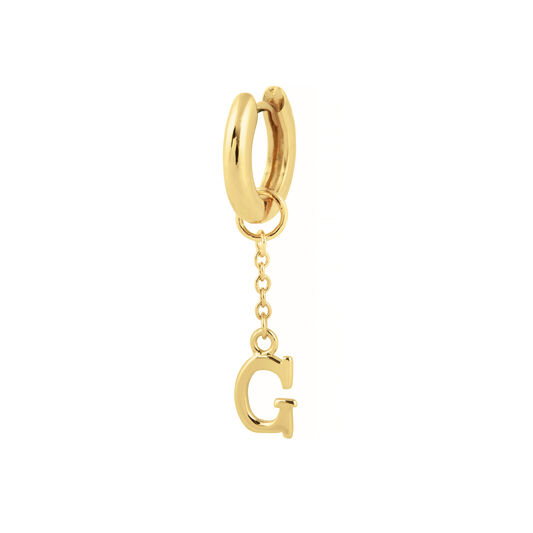 G Alphabet Huggie Charm Gold