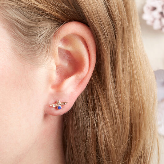 3D Bee Stud Earrings Rose Gold with Lapis Lazuli Gemstone