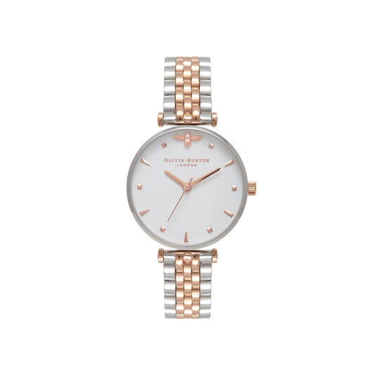 T-Bar Bracelet Silver & Rose Gold Watch