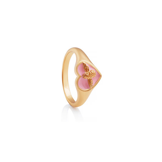 Love Bug Signet Ring Pink & Gold S