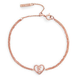'E' Heart Initial Chain Bracelet Rose Gold